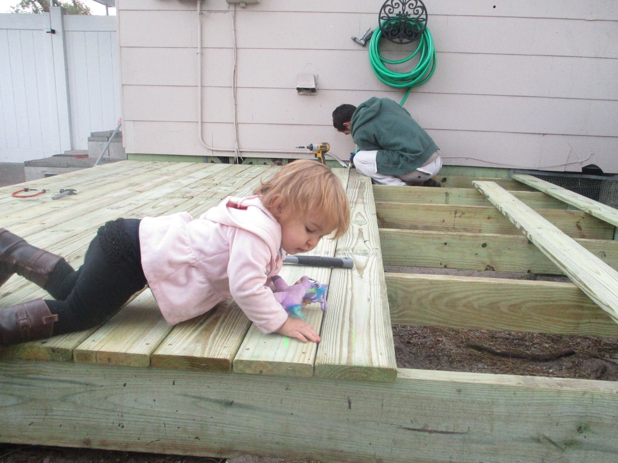 drilling down the deck boards