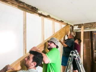 installing the engineered beam and replacing the load bearing wall