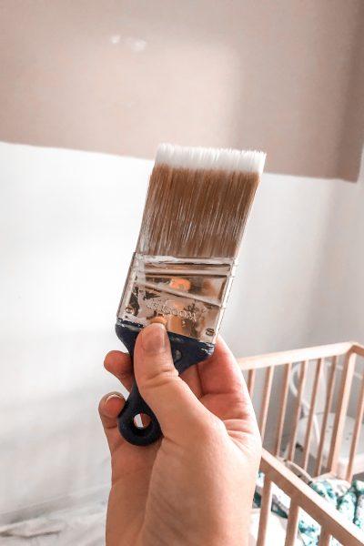 One Room Challenge week 2 - colorblock nursery painting with wooster handbrush